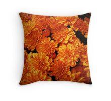Toasted Orange Chrysanthemums Throw Pillow