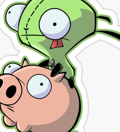 Gir riding his Pig Sticker