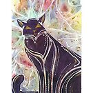 Shadow Cat Watercolour  by Tracey Quick