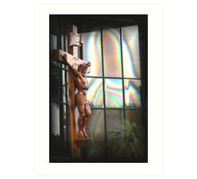 jesus and mary in glass building Art Print