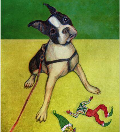 Terrier slays elf Sticker