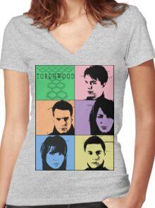 Torchwood Pop Art Women's Fitted V-Neck T-Shirt