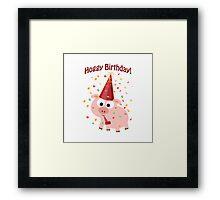 Hoggy Birthday! Cute confetti pig Framed Print