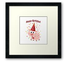 Hoggy Birthday! Cute confetti pig Framed Print