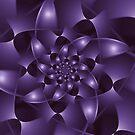 Purple Spiral Fractal  by Kitty Bitty
