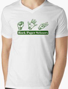 Ro Sham Bo - Rock Paper Scissors Mens V-Neck T-Shirt
