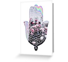 Hologram Rose Hamsa Greeting Card