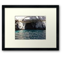 Caves at blue Grotto Framed Print