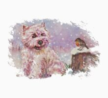 Westie meets Robin in the Snow by Depictions