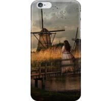 Autumn impression with two dutch windmills iPhone Case/Skin