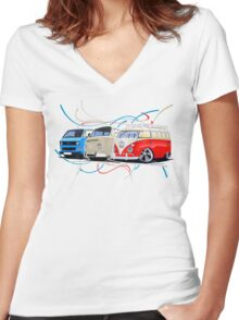 VW Bus Collection Women's Fitted V-Neck T-Shirt