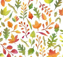 Watercolor autumn leaves pattern by helga-wigandt