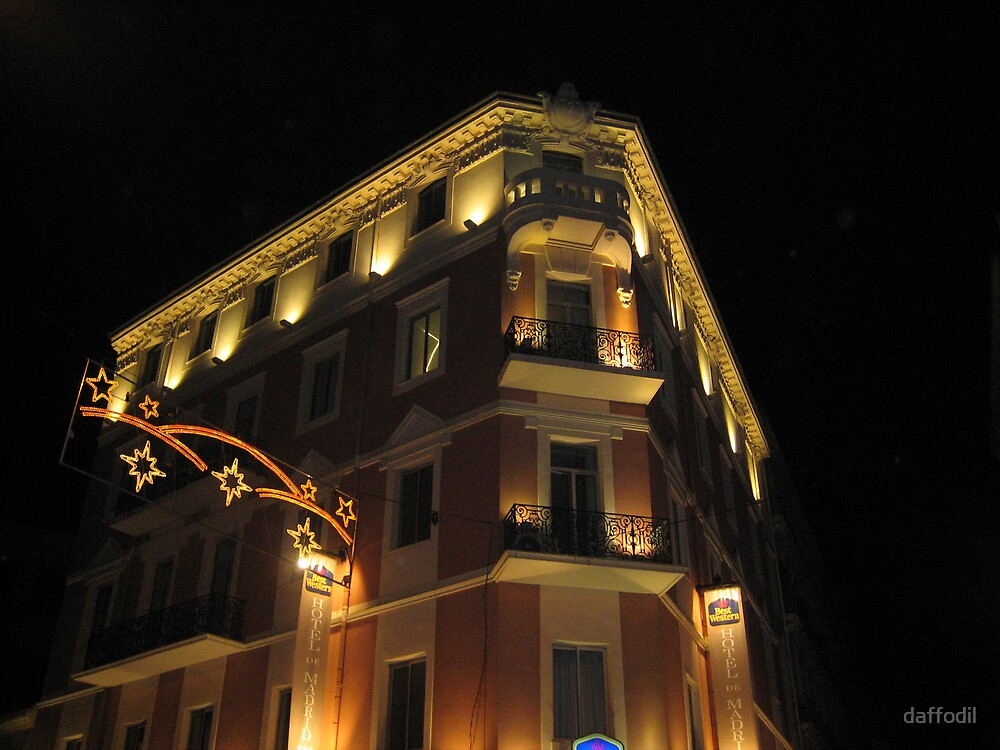 Magnificent hotel illuminated by daffodil