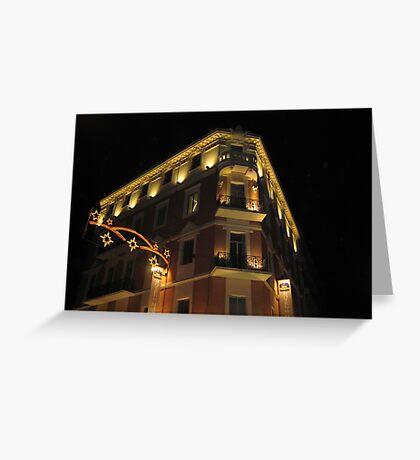 Magnificent hotel illuminated Greeting Card
