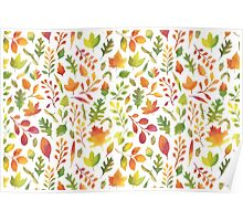 Watercolor autumn leaves pattern Poster