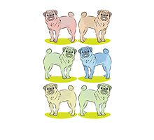 6 pug dogs cute by jazzydevil