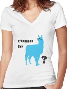 Como Te Llamas Humor Pun Poster Art Women's Fitted V-Neck T-Shirt