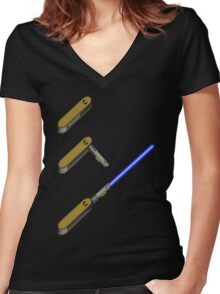 light-swiss-knife-blue-3 Women's Fitted V-Neck T-Shirt