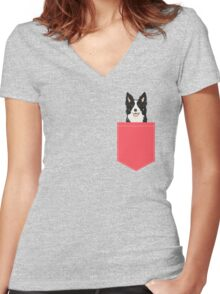 Montana - Border Collie gifts for dog people and dog lovers gifts for the dog person Women's Fitted V-Neck T-Shirt
