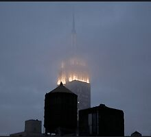 Fog 5PM Friday Empire State Building by Judith Oppenheimer