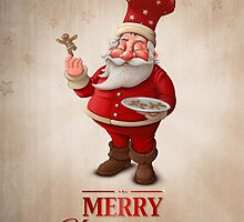 Santa Claus pastry cook greeting card by jordygraph