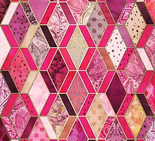 Wild Pink & Pretty Diamond Patchwork Pattern by micklyn