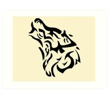 Tribal wolf head on light brown background Art Print