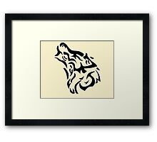 Tribal wolf head on light brown background Framed Print