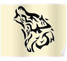 Tribal wolf head on light brown background Poster