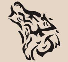 Tribal wolf head on light brown background by JoAnnFineArt