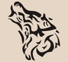 Tribal wolf head on light brown background by JoAnnFineArt