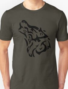 Tribal wolf head on light brown background T-Shirt