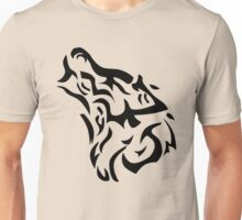 Tribal wolf head on light brown background Unisex T-Shirt