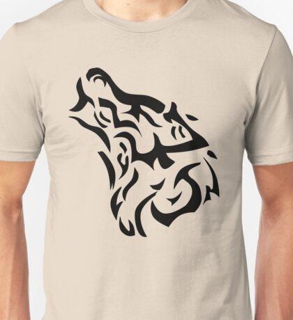 Tribal wolf head on light brown background Unisex T-Shirt