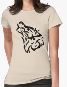Tribal wolf head on light brown background Womens Fitted T-Shirt