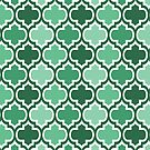 Four Shades Quatrefoil Pattern Emerald  by Ra12