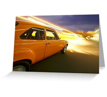 Orange Ford Mk1 Escort at Night Greeting Card