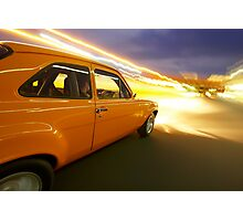 Orange Ford Mk1 Escort at Night Photographic Print