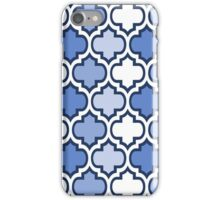 Blue and White Quatrefoil Pattern iPhone Case/Skin