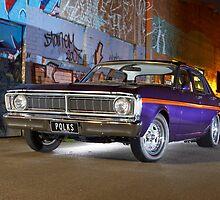 Purple Ford Falcon XY at night by John Jovic