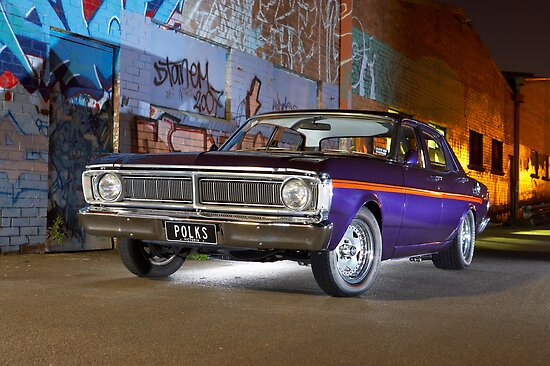 Purple Ford Falcon XY at night by John Jovic