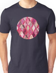Wild Pink & Pretty Diamond Patchwork Pattern Unisex T-Shirt
