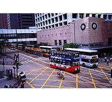 Hong Kong Island tram and buses - May 2002 Photographic Print