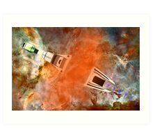 Cruiser/fighter passing through a time warp - all products Art Print