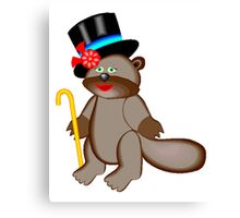 Beaver In Tophat Canvas Print