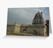 Ancient hill top temple in South India Greeting Card