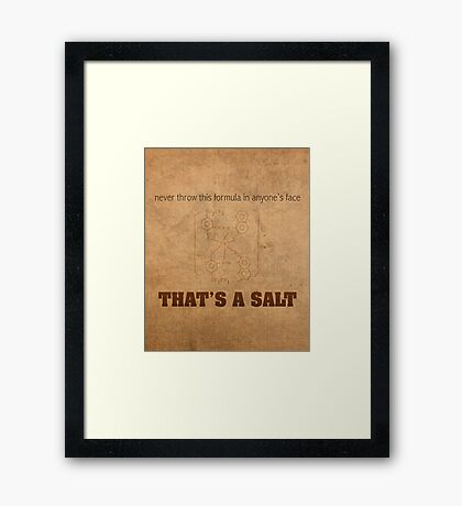 Never Throw This Formula in Anyones Face Thats a Salt Humor Poster Framed Print