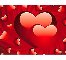 Glossy hearts background 2 Photographic Print