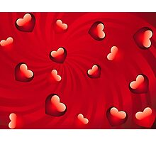 Glossy hearts background 3 Photographic Print