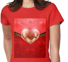 Golden rings in glass heart Womens Fitted T-Shirt